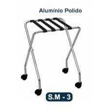 Suporte Aparador De Malas Dobravel Com Rodas Alumínio Polido