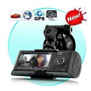 Camera filmadora veicular dupla com GPS 1080p